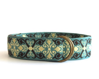 Teal and Brown Scroll Belt | Jacquard Ribbon Belt