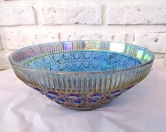 Vintage Indiana Carnival Glass Iridescent Blue Windsor Bowl Salad Serving Fruit