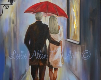 "Couple Art Print Red Umbrella Couple Painting Romantic Art Couples Giclee Art Print Romance Love  ""ROMANCE PATH"" Leslie Allen Fine Art"