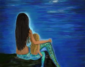 "Mermaid Art Mermaid  Print Mother Daughter Sisters Mermaid Theme Mermaids Mermaid Decor ""MERMAID & DARLING DAUGHTER""  Leslie Allen Fine Art"
