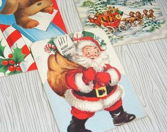 VINTAGE Christmas Cards / Vintage Christmas Ephemera / Christmas Paper Craft / Vintage Greetings Cards / Christmas Scrapbook Art / Set of 3