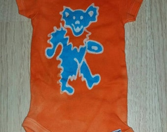 The Grateful Dead Baby Onesie Dancing Bear Batik READY to SHIP SALE