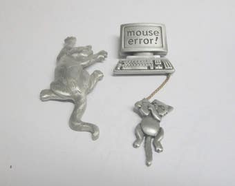 TWO JJ 80s Brooch Keyboard Mouse Cat Monitor  FREE Domestic Shipping