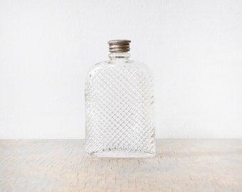 small glass flask, vintage 20s hip flask, 1927 universal art deco glass hip flask
