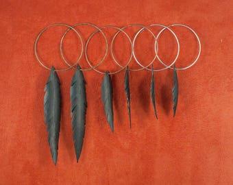 Vegan Feather Bike Tube Earrings on Hoop