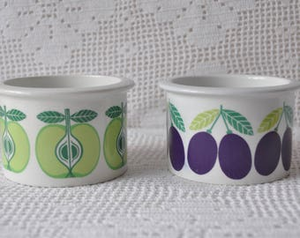 Two Vintage Arabia Porcelain Vintage Jam Jars/Vintage 1960s/Pomona Plum and Pear Fruit Pattern/Scandinavian Modern Kitchen Decor