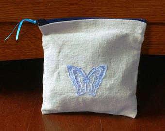 Canvas Zipped Pouch with Embroidered Butterfly Pen/Pencil | Makeup Case | Small Square Bag | Zipped Bag | Spring/Summer Bag
