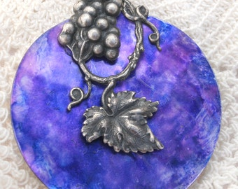 Vintage Hand Painted Mother of Pearl Button Pendant Vintage Sterling Leaf and Grapes with Sterling Chain PURPLE
