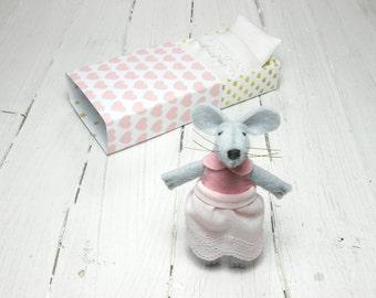 Valentine gift for kids stuffed animal kit felt plush doll felted rat stuff felt animal miniature mouse hand made doll birthday children
