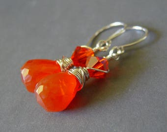 Orange Chalcedony Earrings, Sterling Silver Wire Wrapped Earrings, Orange Faceted Chalcedony Dangle