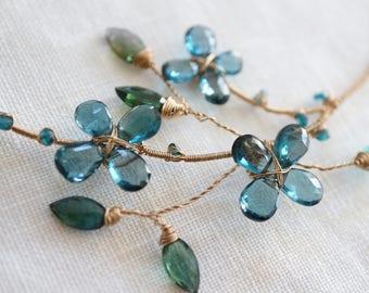 Gold Necklace Blue Flower 14kgf