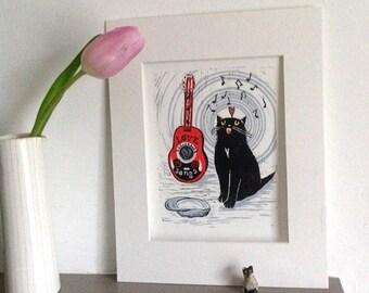 Original Lino Print.  MY SAD CAT 'Busking all day'