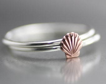 Sea Shell Ring, Shell Stack Ring, Tide Pool Ring, Ocean Ring, Stack Rings, Sterling Stack Rings, Sterling Rings, Copper Shell Ring, Set Of 2