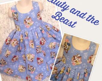 Beauty and the Beast Disney * classic jumper style dress CUSTOM SIZES child 2 3 4 5 6 7 8 10 12 14 - your choice sewnbyrachel