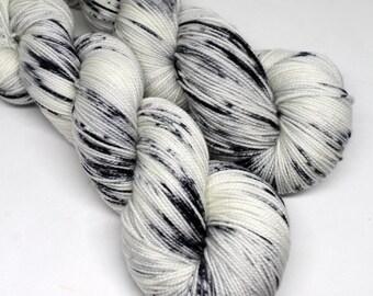 Hand Dyed  Speckled Sock Yarn - SW Sock 80/20 - Superwash Merino Nylon - 400 yards  - Newsprint