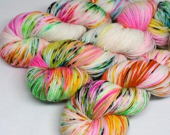 Hand Dyed Speckled Sock Yarn - SW Sock 80/20 - Superwash Merino Nylon - 400 yards  - Shock Star