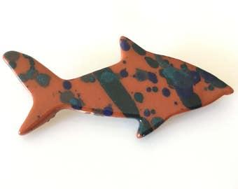 Signed Vintage Handmade by Artist Porcelain Ceramic Splatter Fish PIn Brooch
