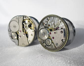 "Pair of One of a Kind Steampunk Plugs - 19mm, 22mm, 25mm - Antique Watch Movement - Steam Punk Gauges - Handmade OOAK - 3/4"", 7/8"", 1"""