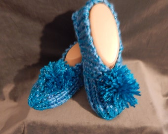 Women's Hand Knitted Turquoise Slippers with Pom Pom Size 6, 7, or 8