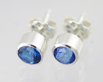 Ice Blue Topaz Drop Studs, XL Sterling Silver
