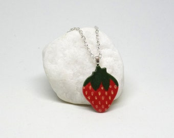 Ceramic Pendant Necklace: Sweet Strawberry Handmade Stoneware Charm with silver plated chain