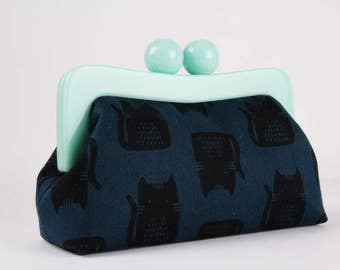 Resin frame clutch bag - Cats on dark blue - Awesome purse / Mint green frame / Maker Maker by Sarah Golden / Navy black sea blue