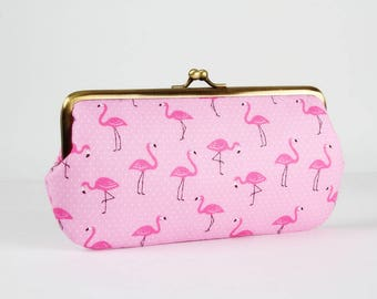 Frame purse with two sections - Mini flamingos on pink - Wowlet / Kisslock wallet / tiny white dots / mint green