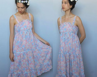 ladies of the canyon -- vintage 70's floral cotton day dress S