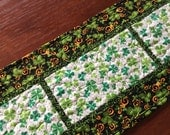 St Patrick's Day Quilted Table Runner, Shamrock Quilted Table Runner, Green White Table Runner