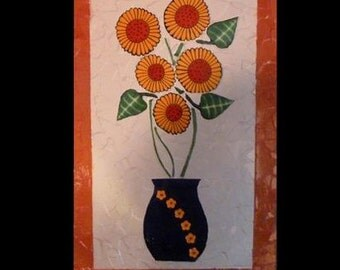 Mosaic Sunflower Wall Hanging with Sunflowers in Vase Made with Talavera Tiles