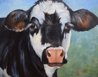 Black And White Cow Farmhouse Chic Painting, Original Oil on Large Canvas by Cheri Wollenberg