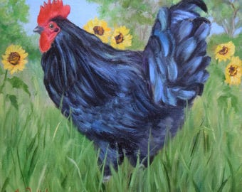 Black Rooster Sunflowers Sky, Animal Portrait,Landscape,Farm Animal Painting,Original Canvas Art by Cheri Wollenberg