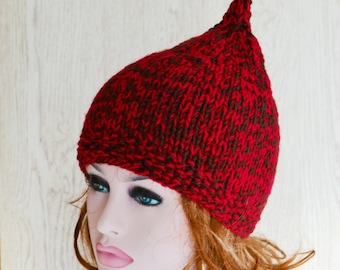 Pixie Hat Knitted Hat Elf Chunky, Winter Hat Ruby and Brown