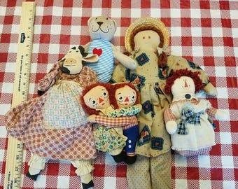 primitive rag dolls lots