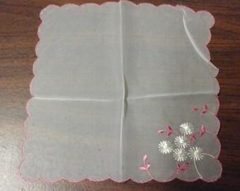 Vintage Sheer Hand Embroidered Hankie
