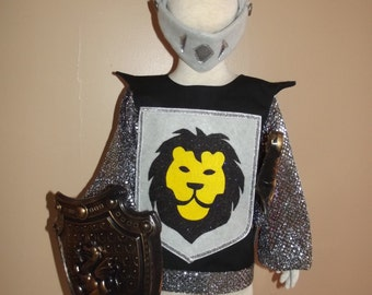 Child's Knight Costume, size 2/3, a four piece set - tunic, helmet, shield and sword