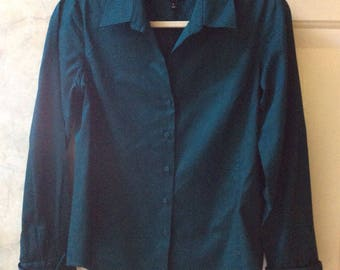 Vintage dark teal classic button front shirt, woman's deep turquoise blue Talbots blouse, sz Small teal green cotton long sleeve top India