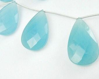 Aqua Chalcedony Pear Briolettes,  LARGE Aqua Faceted Gemstones, 1 MATCHED PAIR Apatite Brides,  24x14mm