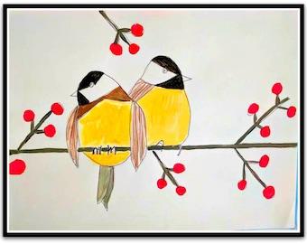 Happy Birds Finches Folk Art Happy Art Kids Art 9x12 Acrylic on Watercolor Paper Original whimsical Art Nursery Art