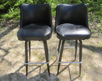 Vintage PAIR of Mid Century Modern Fabulous Bar Stools with Textured Black Vinyl Seats