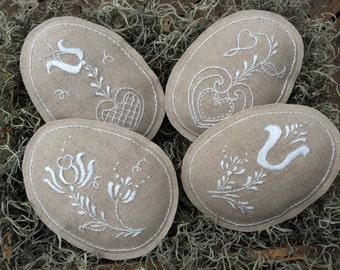 SALE! Easter Egg Bowl Fillers/ Hand Embroidered Linen Easter Egg Decorations