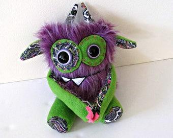 Stuffed Monster - Monster Plush - Handmade Plush Monster - Hand Embroidered OOAK Monster Toy - Purple Faux Fur Monster - Cute Plush Monster