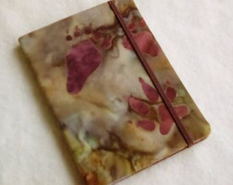 Batik Covered Pocket Memo Book, PAW PRINTS v.2, Refillable Mini Composition Notebook Cover in Earthy Brown and Green