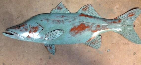 Snook Metal Fish Wall sculpture 30in Tropical Beach Coastal Art