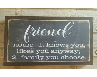 Friend Definition Sign, Quote Signs, Gift For Friend, Best Friend Gift, Framed Wood Sign Rustic Wall Decor Farmhouse Sign Gallery Wall Decor