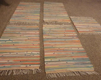 """Hand Crafted Rag Rug, Pastels, 25"""" x 50"""" (Recycled Bath Towels)"""