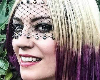 ROXY Bandeau Mask w/ jet black & lilac Swarovski crystals and black net lace / Gothic / Victorian / Flapper/ Masquerade