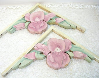 Hand Painted Wood Shelf Brackets with Irises
