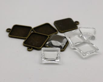 SQUARE Bezel with 15mmX15mm GLASS Magnifying Domes Cabochon - 5 sets 10 pcs  - 21mmx18mm Antique Brass - KB07 - We are USA Seller