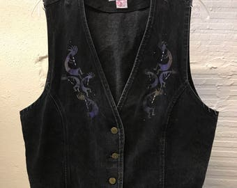 Jean vest Vintage 1990s Black Denim Wanted Painted Women's size L